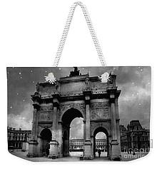 Weekender Tote Bag featuring the photograph Paris Louvre Entrance Arc De Triomphe Architecture - Paris Black White Starry Night Monuments by Kathy Fornal