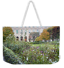 Weekender Tote Bag featuring the photograph Paris Palais Royal Gardens - Paris Autumn Fall Gardens Palais Royal Rose Garden - Paris In Bloom by Kathy Fornal