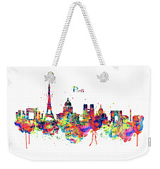 Weekender Tote Bag featuring the mixed media Paris Skyline 2 by Marian Voicu