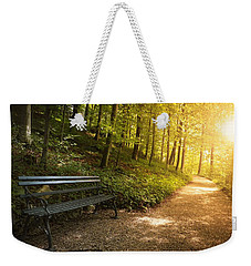 Weekender Tote Bag featuring the photograph Park Bench In Fall by Chevy Fleet
