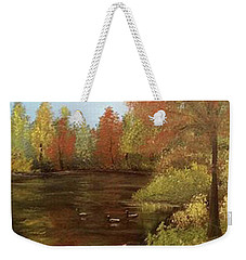 Weekender Tote Bag featuring the mixed media Park In Autumn by Angela Stout