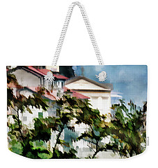 Weekender Tote Bag featuring the digital art Parrocchia Di Colonno by Jennie Breeze