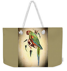 Weekender Tote Bag featuring the mixed media Parrot by Charmaine Zoe