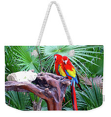 Weekender Tote Bag featuring the digital art Parrots by Francesca Mackenney