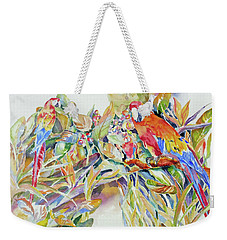 Parrots In Paradise Weekender Tote Bag by Mary Haley-Rocks