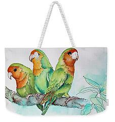Parrots Trio Weekender Tote Bag by Inese Poga