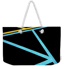 Weekender Tote Bag featuring the photograph Partallels And Triangles In Traffic Lines Scene by Gary Slawsky