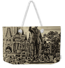 Partners Statue Walt Disney And Mickey In Black And White Mp Weekender Tote Bag