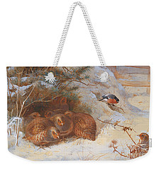 Partridge And A Bullfinch In The Snow  Weekender Tote Bag by Archibald Thorburn