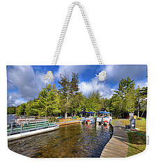 Weekender Tote Bag featuring the photograph Party Barges At Palmer Point by David Patterson