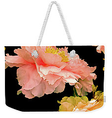 Weekender Tote Bag featuring the photograph Pas De Deux Peonies With Yellow by Lynda Lehmann