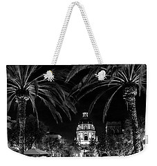 Weekender Tote Bag featuring the photograph Pasadena City Hall After Dark In Black And White by Randall Nyhof