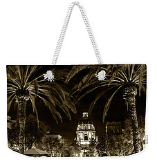 Weekender Tote Bag featuring the photograph Pasadena City Hall After Dark In Sepia Tone by Randall Nyhof
