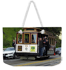 Passenger Waves From A Cable Car Weekender Tote Bag