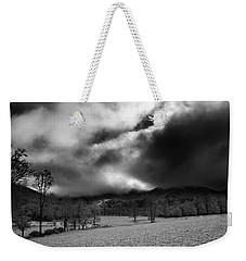 Weekender Tote Bag featuring the photograph Passing Snow In North Carolina In Black And White by Greg Mimbs