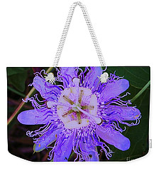 Weekender Tote Bag featuring the photograph Passion Flower Bloom by Shirley Moravec