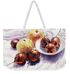 Passion Fruits And Pears 2 Weekender Tote Bag by Joey Agbayani