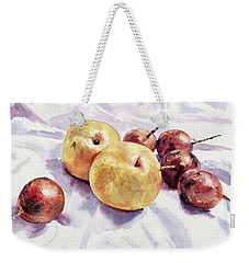 Passion Fruits And Pears Weekender Tote Bag by Joey Agbayani