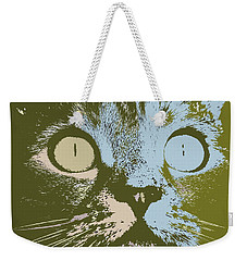 Weekender Tote Bag featuring the digital art Pastel Cat Pop Art by Shelli Fitzpatrick