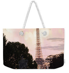 Weekender Tote Bag featuring the photograph Pastel Paris Eiffel Tower Sunset Bokeh Lights - Romantic Eiffel Tower Pink Pastel Home Decor by Kathy Fornal