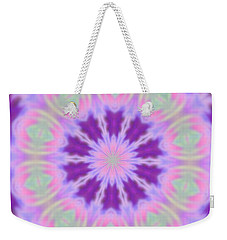 Weekender Tote Bag featuring the photograph Pastel Purple Wheel by Shirley Moravec