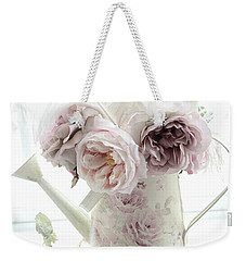 Weekender Tote Bag featuring the photograph Pastel Romantic Shabby Chic Pink Flowers In Watering Can - Romantic Cottage Floral Home Decor  by Kathy Fornal