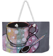 Weekender Tote Bag featuring the painting Pastel Stripes Polka Dotted Coffee Cup by Robin Maria Pedrero