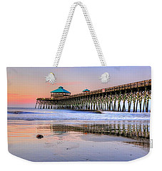 Pastel Sunrise On Folly Beach Pier In Charleston South Carolina Weekender Tote Bag