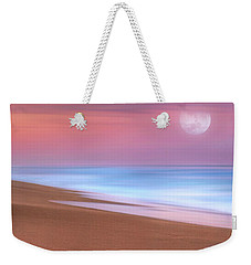 Weekender Tote Bag featuring the photograph Pastel Sunset And Moonrise Over Hutchinson Island Beach, Florida. by Justin Kelefas