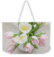 Weekender Tote Bag featuring the photograph Pastel Tulips by Kim Hojnacki