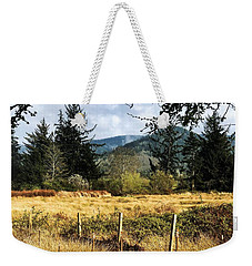 Weekender Tote Bag featuring the photograph Pasture, Trees, Mountains Sky by Chriss Pagani