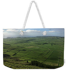 Weekender Tote Bag featuring the photograph Pastures Inside The Rim On Terceira, Azores, Portugal by Kelly Hazel
