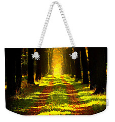 Weekender Tote Bag featuring the painting Path In The Forest 715 - Painting by Ericamaxine Price
