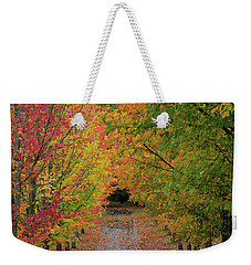 Path Lined With Maple Trees In Fall Season Weekender Tote Bag by Jit Lim