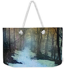 Path Through The Woods In Winter At Sunset Weekender Tote Bag