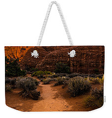 Weekender Tote Bag featuring the photograph Path To Skyline Arch At Sunset - Utah  by Gary Whitton