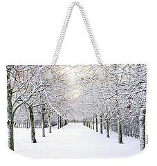Pathway In Snow Weekender Tote Bag by Marius Sipa
