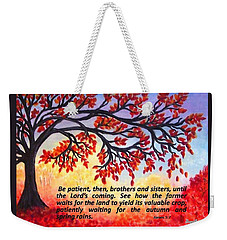 Weekender Tote Bag featuring the painting Patient Autumn Tree by Sonya Nancy Capling-Bacle