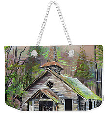 Weekender Tote Bag featuring the painting Patiently Waiting - Church Abandoned-signed by Jan Dappen