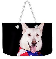 Patriotic Dog Weekender Tote Bag by Stephanie Hayes