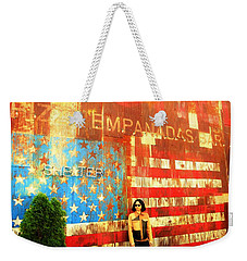 Patriotic Empanadas Wall In New York  Weekender Tote Bag by Funkpix Photo Hunter