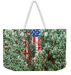 Weekender Tote Bag featuring the photograph Patriotic Georgetown Home by Lorella Schoales