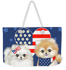 Weekender Tote Bag featuring the painting Patriotic Pomeranians by Catia Lee