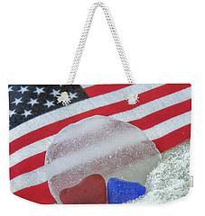 Patriotic Sea Glass Colors Weekender Tote Bag