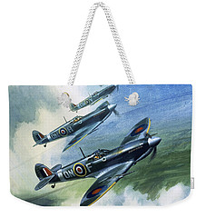 Patrolling Flight Of 416 Squadron, Royal Canadian Air Force, Spitfire Mark Nines Weekender Tote Bag by Wilf Hardy