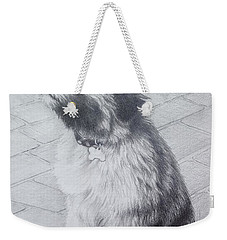 Weekender Tote Bag featuring the drawing Patsy's Puppy by Mike Ivey