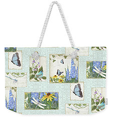 Weekender Tote Bag featuring the painting Pattern Butterflies Dragonflies Birds And Blue And Yellow Floral by Audrey Jeanne Roberts