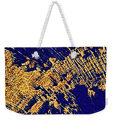 Tree Stump Pattern In Gold And Blue Weekender Tote Bag by Menega Sabidussi