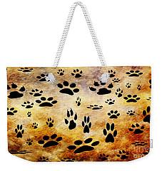 Weekender Tote Bag featuring the digital art Paw Prints by Andee Design
