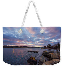 Pawcatuck River Sunrise Weekender Tote Bag